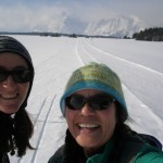 Corrie & Erika along the Teton Park Rd. during the point to point ski day