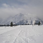The peaceful, wide-open space of the Teton Park Road, ski trail in the Winter