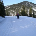 Mimi skate skiing out of Sourdough Canyon