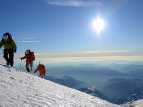 Andy, Art and Keith on their way to the summit during the 2012 Camp Patriot Rainier Climb