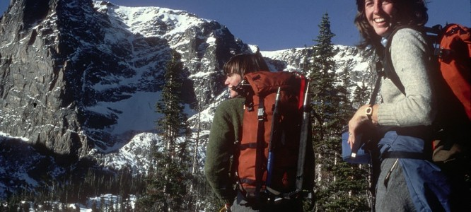Alex and Jennifer Lowe skiing toward the north face of Notch Top in Rocky Mountain National Park in 1982.