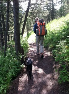 Start the long hike of .8 miles to the climbing spots along the river.