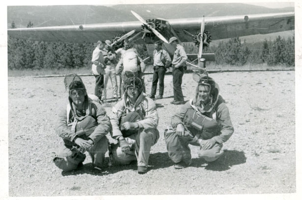 Camp Menard (Ninemile) Ford Trimotor. 1st Jump Bob Conklin on left. Photo contributed to Smokey Generation by Leonard Blixrud (MSO 1953).
