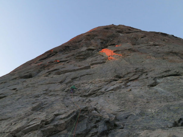 Starting up the first pitch of The Jaded Lady in the morning light. Photo by Hayden Kennedy.