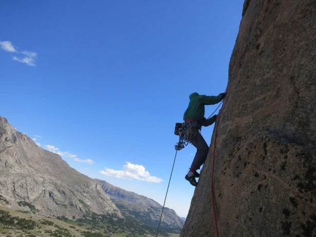 Working through the complex down-climbing pitch of The Jaded Lady. Photo by Hayden Kennedy.
